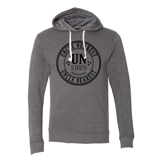 A heather gray hoodie with a circular version of the Uncle Nearest logo