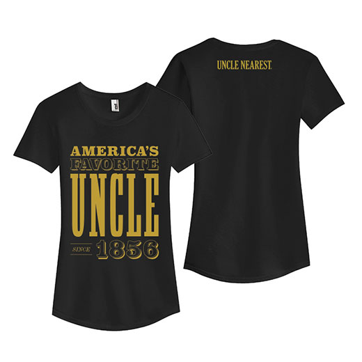 Black women's shirt with the gold lettering that reads Americas favorite uncle 1856